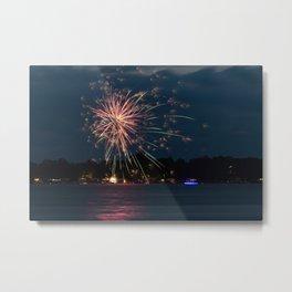 Fireworks Over Lake 35 Metal Print