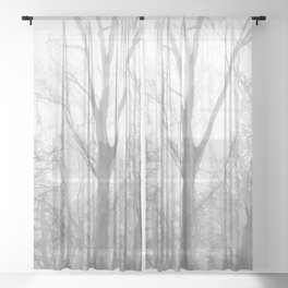 Black and White Forest Illustration Sheer Curtain