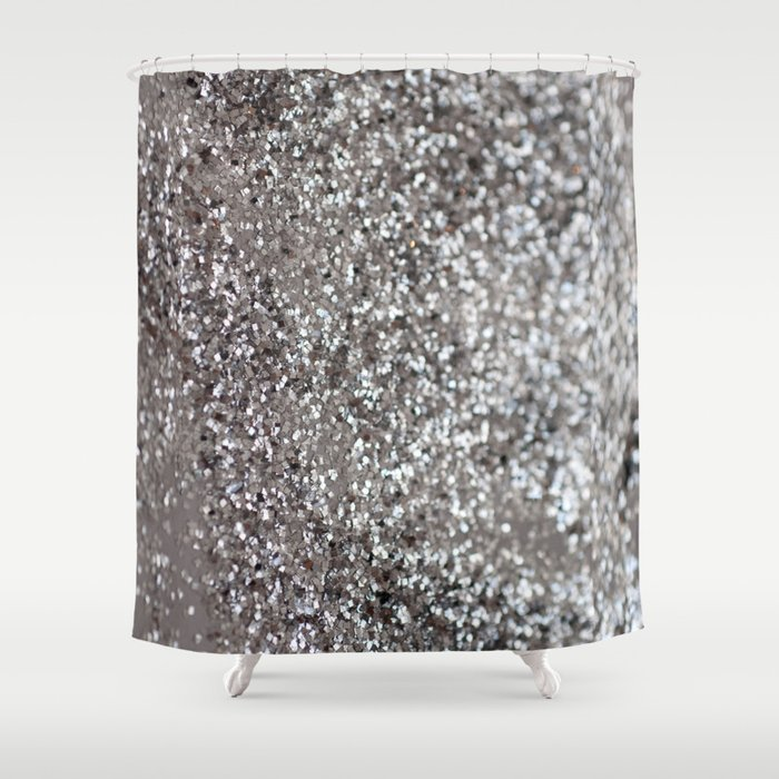 Sparkling SILVER Lady Glitter #1 #decor #art #society6 Shower Curtain