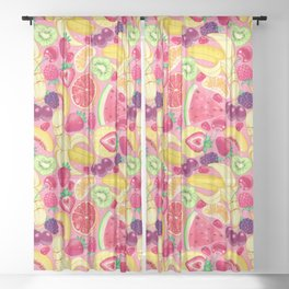 Fruit Cocktail on Pink Sheer Curtain