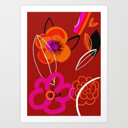 Warm Poppies Abstract Art Print