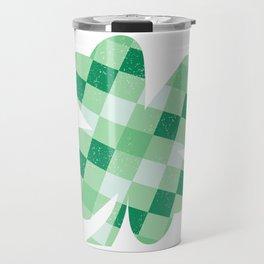 Checkered Shamrock. Four Leaf Clover. St Patrick's Day Travel Mug