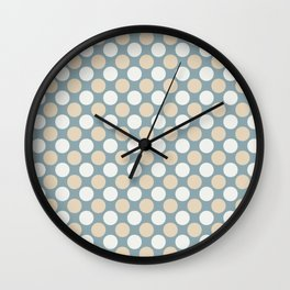 Beige & White Uniform Large Polka Dots Pattern on Pastel Blue Matches Clares Good Jean 2020 COTY Wall Clock