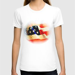 Baseball And Americn Flag Painting By Annie Zeno  T-shirt