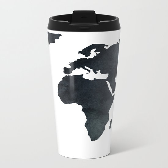 World Map Black Watercolor Ink Metal Travel Mug