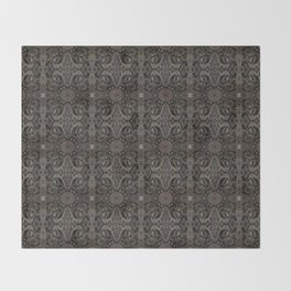Curves & lotuses, black, brown and taupe Throw Blanket