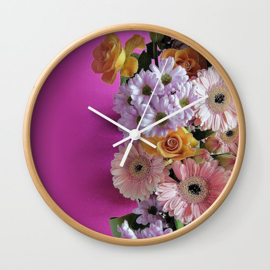 pink 'n flowers Wall Clock