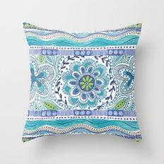 Boho Blue Throw Pillow