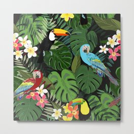 Tropical forest and birds pattern black background Metal Print