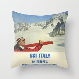 Vintage poster - Ski Italy Throw Pillow