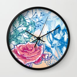 Blossoming rose Wall Clock