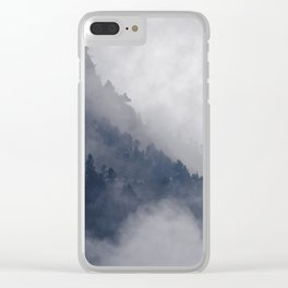 Misty Pine Mountain Forest Landscape Steep Cliffs Cloudy Modern Minimal Photo Clear iPhone Case