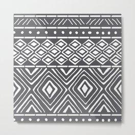 African Mud Cloth // Charcoal Metal Print