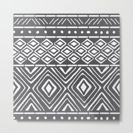 African Mud Cloth // Charcoal Metal Print