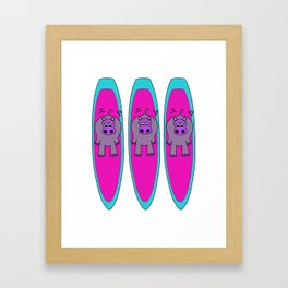 Three Hippos Surfing Framed Art Print