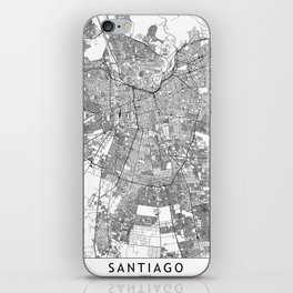 Santiago White Map iPhone Skin
