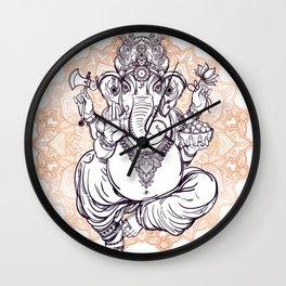 Lord Ganesha on Mandala Wall Clock