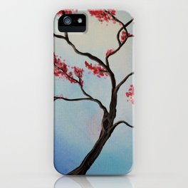 blue sky pink blossom tree  iPhone Case
