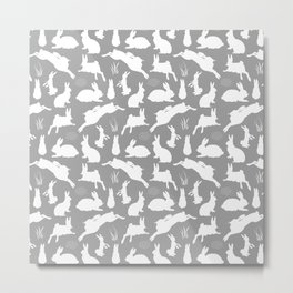 Rabbit Pattern | Rabbit Silhouettes | Bunny Rabbits | Bunnies | Hares | Grey and White | Metal Print