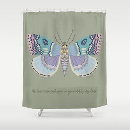 It's time to fly! - gouache and pencil hand drawn butterfly art. Shower Curtain