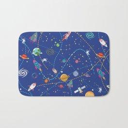 Space Rocket Pattern Bath Mat