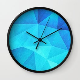 Abstract Polygon Multi Color Cubizm Painting in ice blue Wall Clock