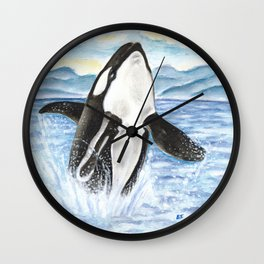Breaching Orca Whale Watercolor Wall Clock