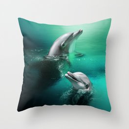 Dancing Dolphins Throw Pillow