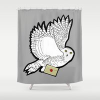 hedwig Shower Curtains featuring Hedwig by AriesNamarie