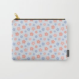 Blue Pink Flower Pattern Carry-All Pouch