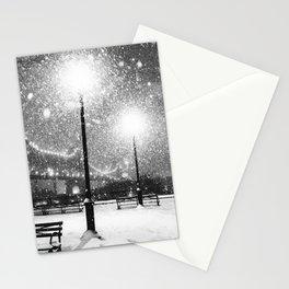 New York City Night Snow Stationery Cards