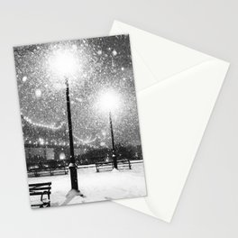 New York City Night Snow Stationery Cards