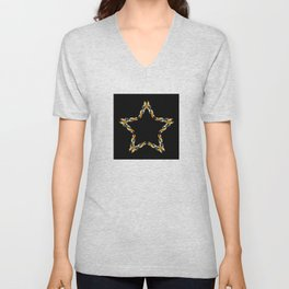A decorative Celtic fractal flower in metallic colors Unisex V-Neck