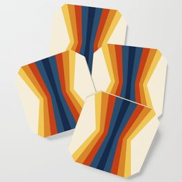 Bright 70's Retro Stripes Reflection Coaster