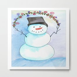 Watercolor Snowman With Floral Wreath Metal Print