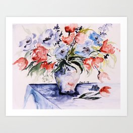 spring flower buquet in aquarell Art Print
