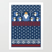 minions Art Prints featuring Ice King and Minions by paperboyjim