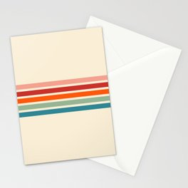 Minimal Abstract Retro Stripes 70s Summer Style - Yoshiie Stationery Cards