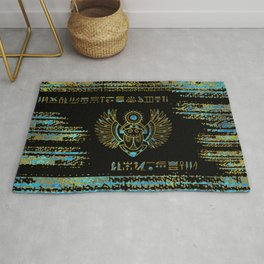 Egyptian Scarab Beetle Gold and blue stained glass Rug