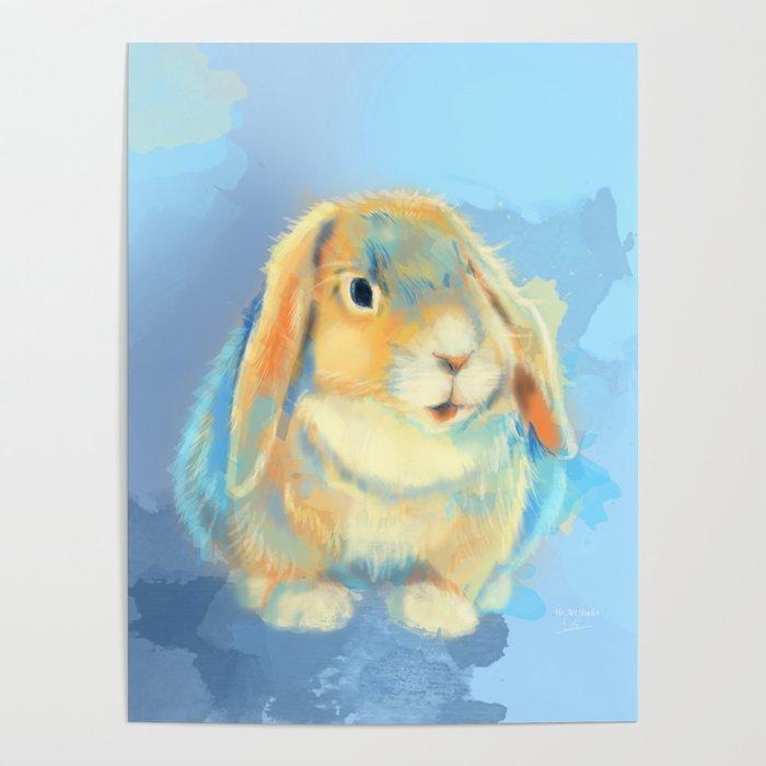 Winter Fluff - Bunny Rabbit Digital Painting Poster