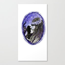 dark brunette witch with a crow Canvas Print