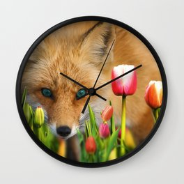 fox in tulips Wall Clock