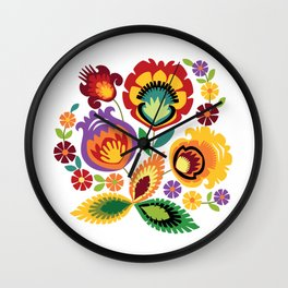 Polish Folk Flowers Red Wall Clock