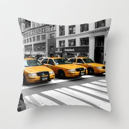 NYC - Yellow Cabs - Shops Throw Pillow