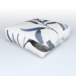 Watercolor Willow Branch, Blue Outdoor Floor Cushion