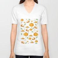 pumpkin V-neck T-shirts featuring pumpkin by Ceren Aksu Dikenci