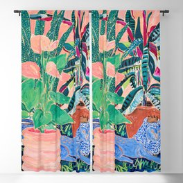 Jungle of House Plants Blush Still Life Painting with Blue Lion Figurine Blackout Curtain