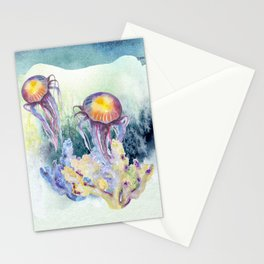 Watercolor Under Sea Collection: Jellyfish Stationery Cards