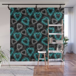 Broken heart . Black and turquoise pattern . Wall Mural