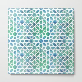 Spanish Tile, watercolor mosaic Metal Print